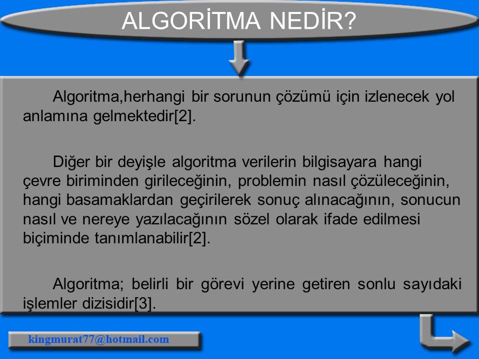 ALGORİTMA NEDİR Algoritma,herhangi bir sorunun çözümü için izlenecek yol anlamına gelmektedir[2].